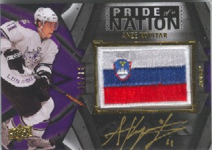 2009-10 UD Black Pride of a Nation Patches Autographs #PNAK Anze Kopitar