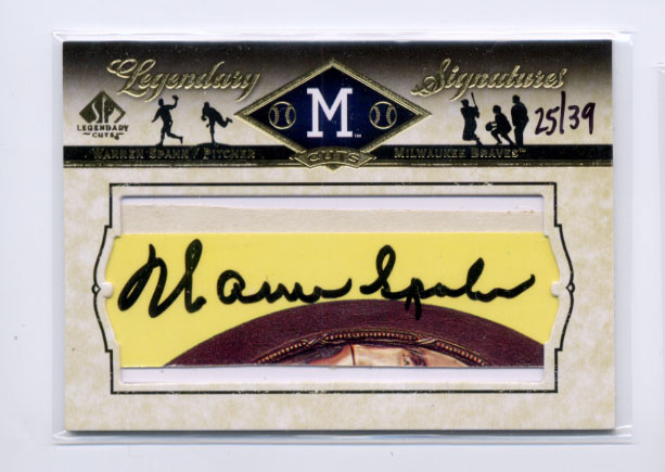2008 SP Legendary Cuts Legendary Cut Signatures #WS Warren Spahn/39