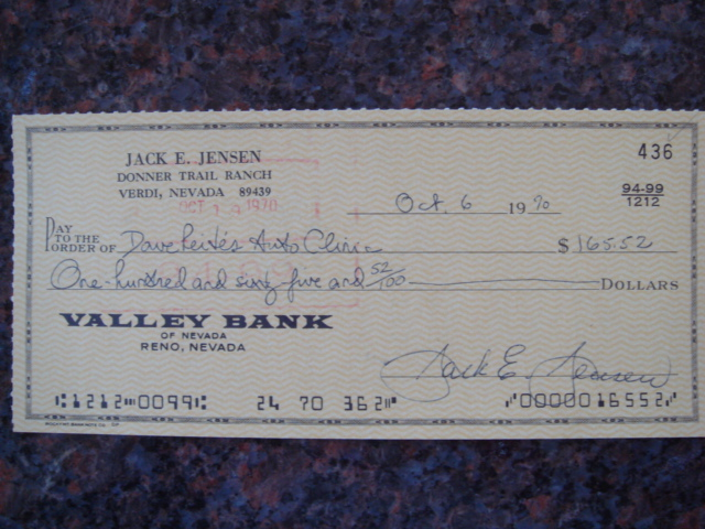 Jackie Jensen Autographed Signed Bank Check