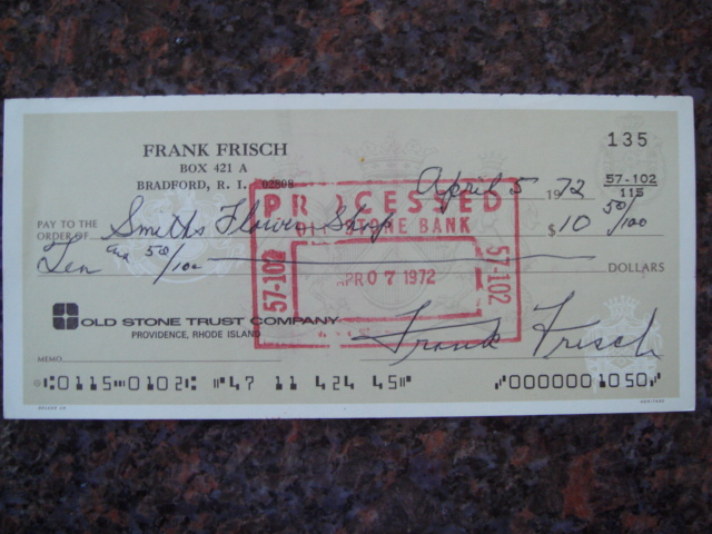 Frank Frisch Autographed Signed Bank Check
