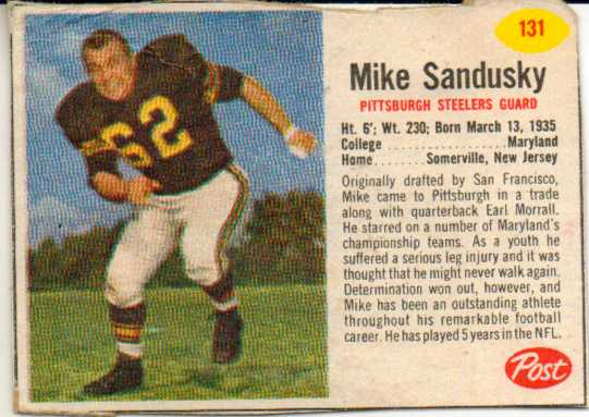 1962 Post Cereal #131 Mike Sandusky