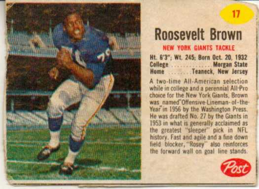 1962 Post Cereal #17 Roosevelt Brown