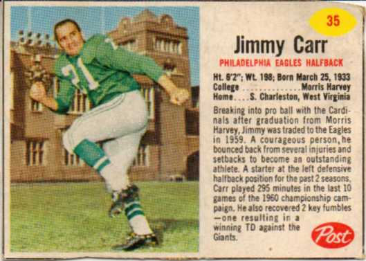 1962 Post Cereal #35 Jimmy Carr