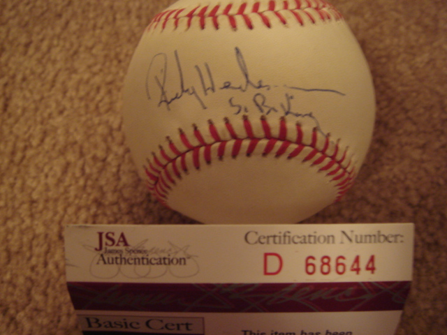 Rickey Henderson Autographed Official A.L.Bobby Brown Baseball With S.B. King Ins. With JSA COA