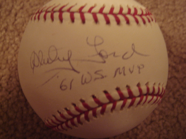 Whitey Ford Autographed Official MLB Baseball With 61 WS MVP with Steiner COA