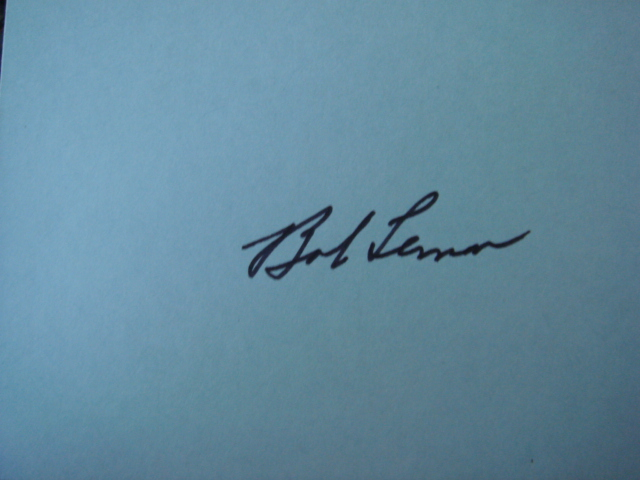 Bob Lemon Autographed 3 X 5 Card With COA
