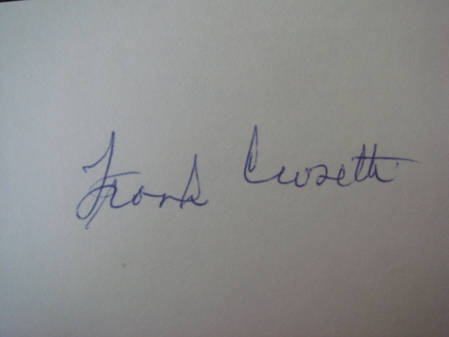 Frank Crosetti Autographed 3 X 5 Card With COA