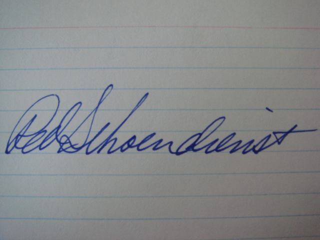 Red Schoendienst Autographed 3 X 5 Card With COA