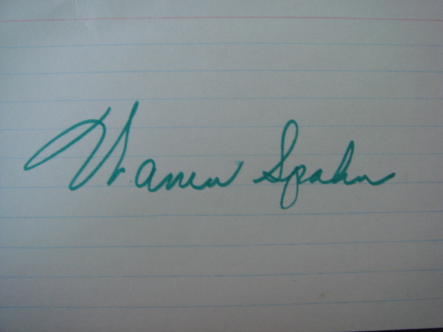 Warren Spahn Autographed 3 X 5 Card With COA