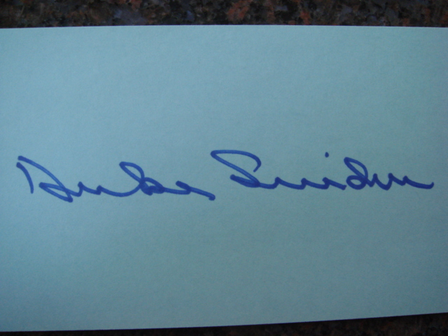 Duke Snider Autographed 3 X 5 Card With COA