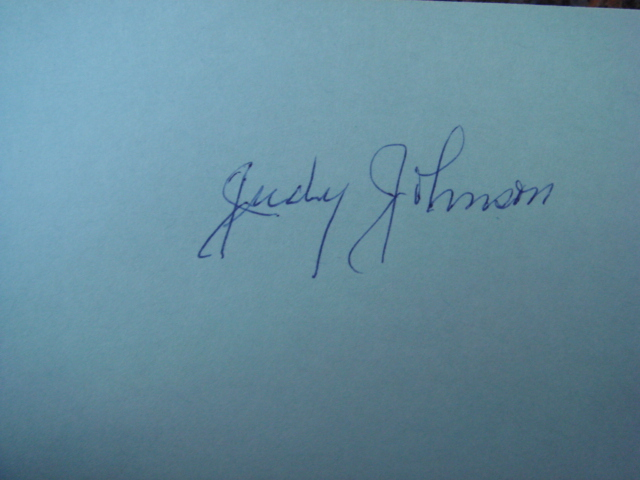 Judy Johnson Autographed 3 X 5 Card With COA