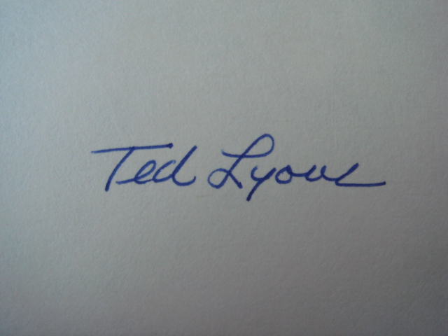 Ted Lyons Autographed 3 X 5 Card With COA