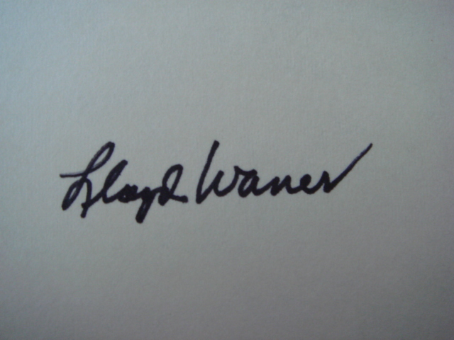 Lloyd Waner Autographed 3 X 5 Card With COA