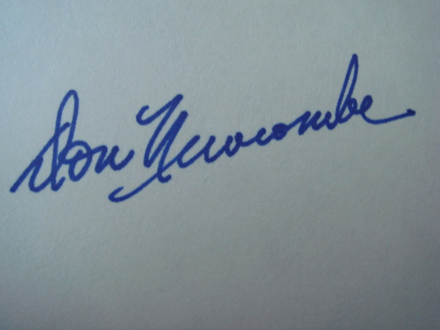 Don Newcombe Autographed 3 X 5 Card With COA