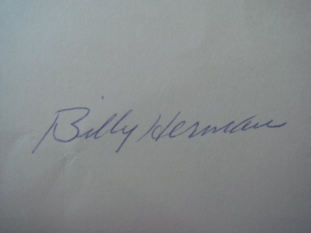 Billy Herman Autographed 3 X 5 Card With COA