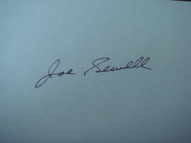 Joe Sewell Autographed 3 X 5 Card With COA