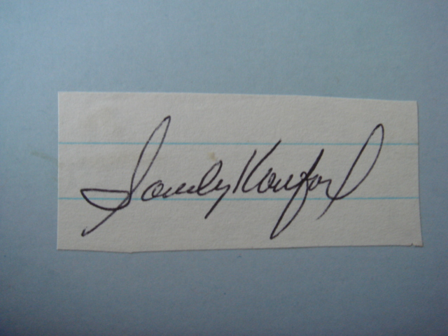 Sandy Koufax Autographed cut With COA