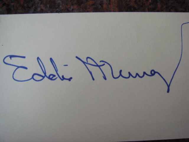 Eddie Murray Autographed 3 X 5 Card With COA