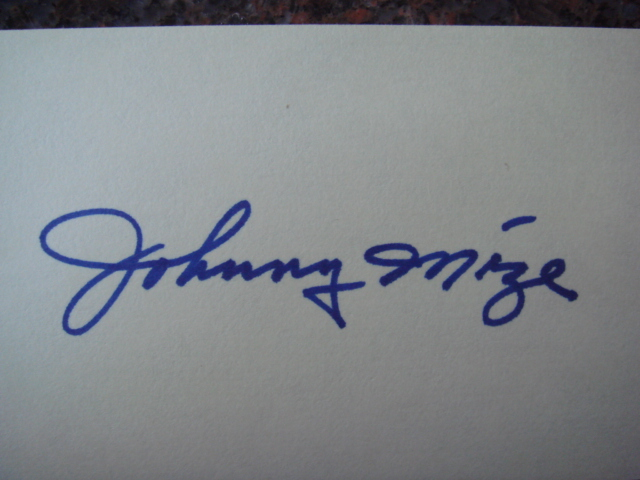 Johnny Mize Autographed 3 X 5 Card With COA