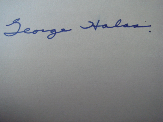 George Halas Autographed 3 X 5 Card With COA