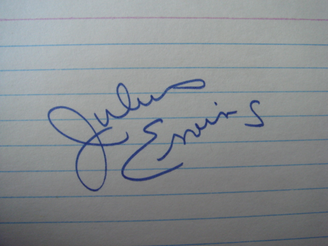 Julius Erving Autographed 3 X 5 Card With COA