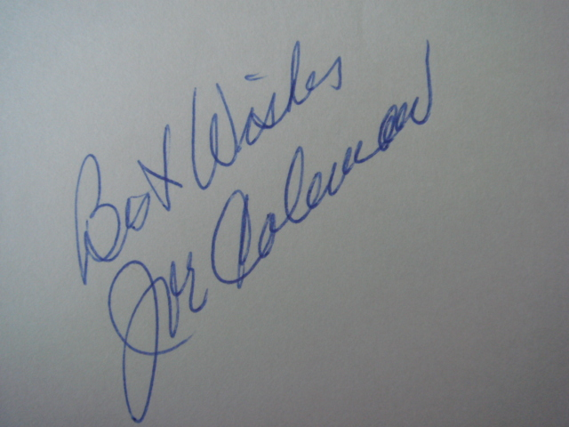 Joe Coleman Autographed 3 X 5 Card With COA