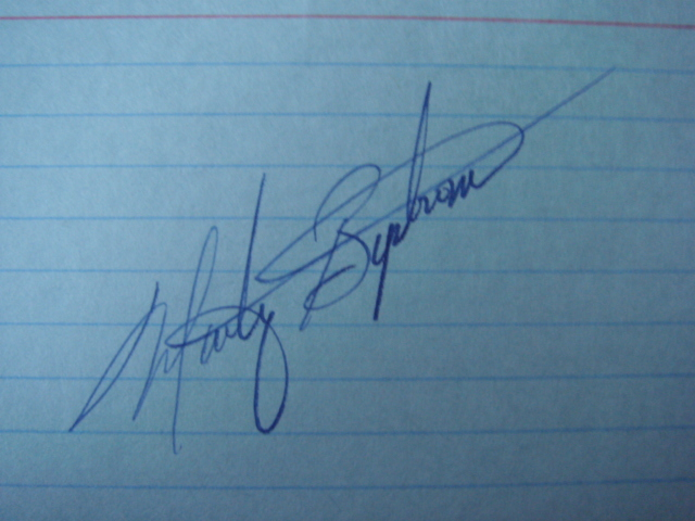 Marty Bystrom Autographed 3 X 5 Card With COA