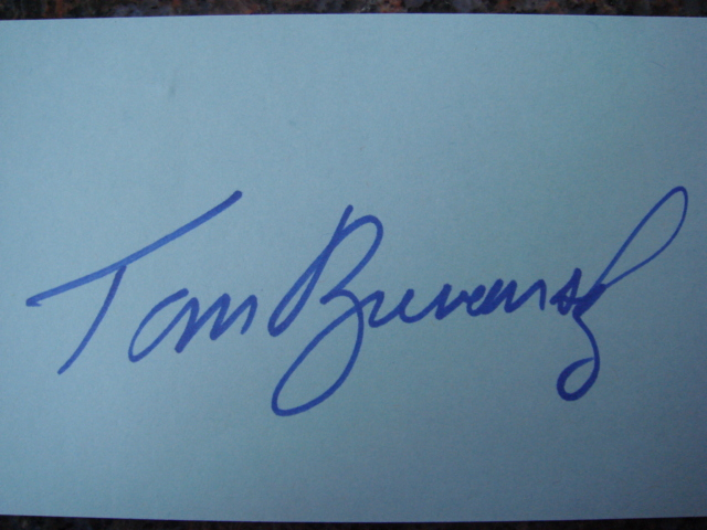 Tom Brunansky Autographed 3 X 5 Card With COA