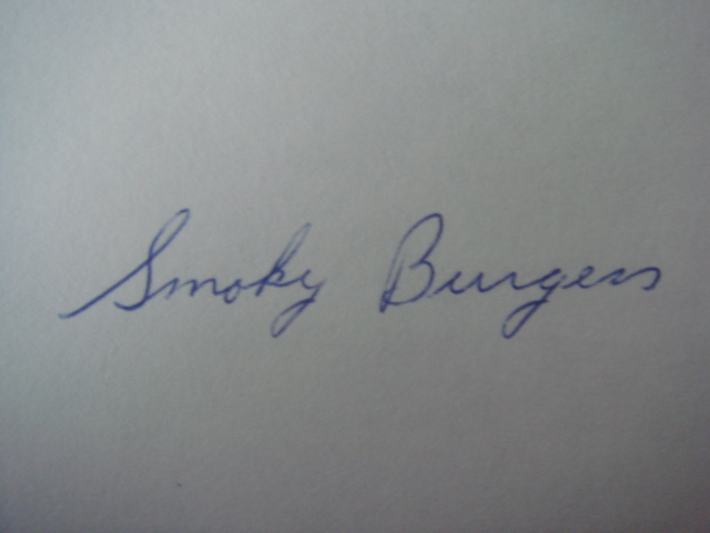 Smoky Burgess Autographed 3 X 5 Card With COA