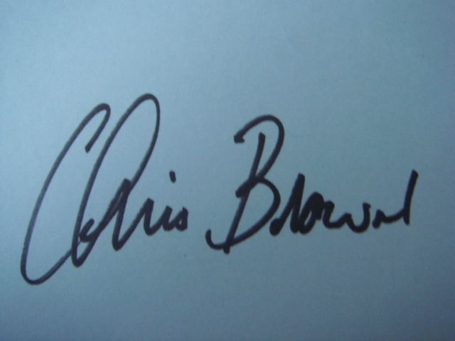 Chris Brown Autographed 3 X 5 Card With COA