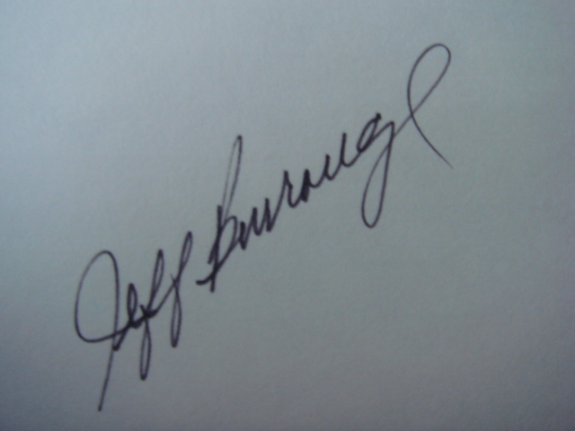 Jeff Burroughs Autographed 3 X 5 Card With COA