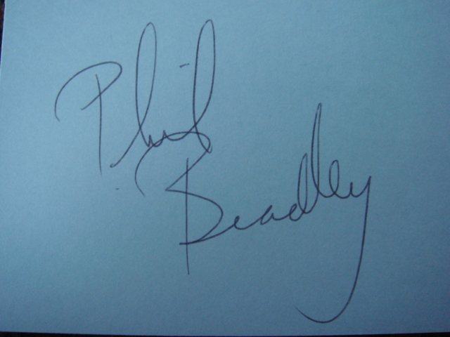 Phil Bradley Autographed 3 X 5 Card With COA