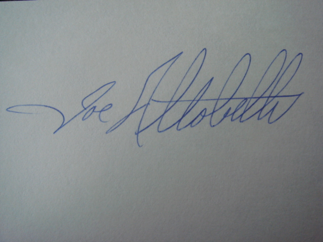 Joe Altobelli Autographed 3 X 5 Card With COA