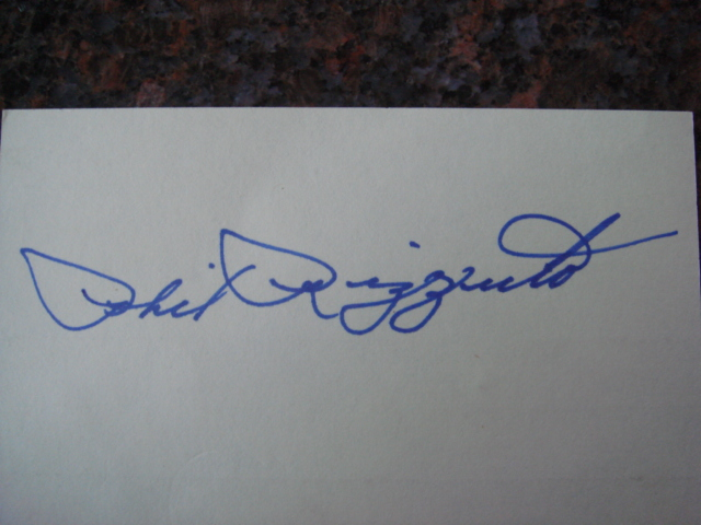 Phil Rizzuto Autographed 3 X 5 Card With COA