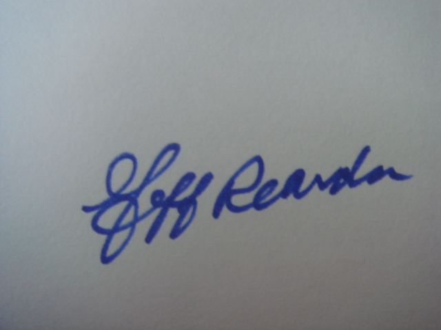 Jeff Reardon Autographed 3 X 5 Card With COA