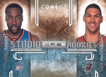 2009-10 Rookies and Stars Studio Combo Rookies Gold #7 James Harden/Jeff Pendergraph
