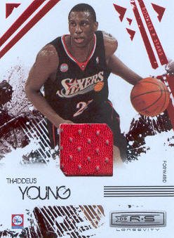 2009-10 Rookies and Stars Longevity Materials Ruby #75 Thaddeus Young/250