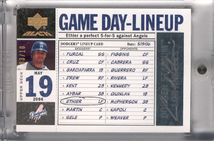 2007 UD Black Game Day Lineup Autographs Gold Spectrum #AE Andre Ethier