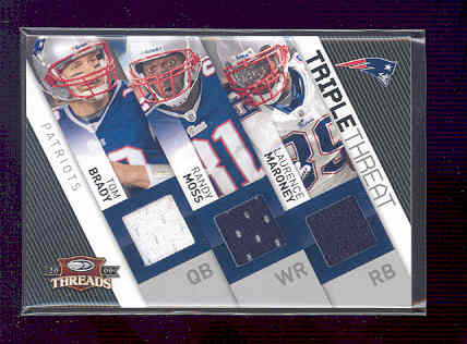2009 Donruss Threads Triple Threat Materials #4 Tom Brady/230/Randy Moss/Laurence Maroney