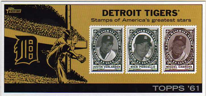 2010 Topps Heritage Team Stamp Panels #11 Detroit Tigers/Justin Verlander/Rick Porcello/Miguel Cabrera