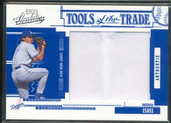 2005 Absolute Memorabilia Tools of the Trade Swatch Single Jumbo Reverse #140 Kazuhisa Ishii Jsy/150