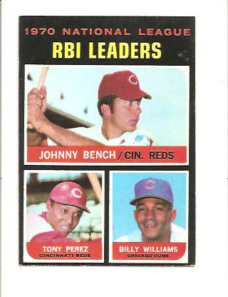 1971 Topps #64 NL RBI Leaders/Johnny Bench/Tony Perez/Billy Williams
