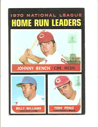 1971 Topps #66 NL Home Run Leaders/Johnny Bench/Billy Williams/Tony Perez