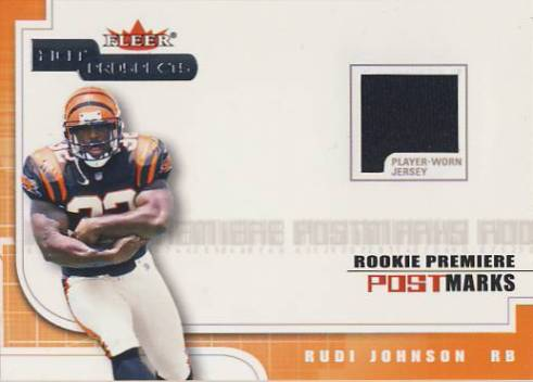 2001 Hot Prospects Rookie Premiere Postmarks Jerseys #14 Rudi Johnson