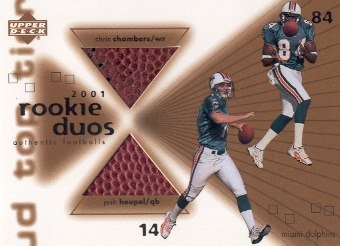 2001 Upper Deck Top Tier Rookie Duos Footballs #RDHC Josh Heupel/Chris Chambers