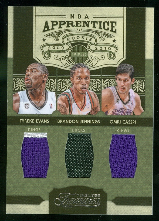 2009-10 Timeless Treasures NBA Apprentice Triple Materials #13 Tyreke Evans/Brandon Jennings/Omri Casspi