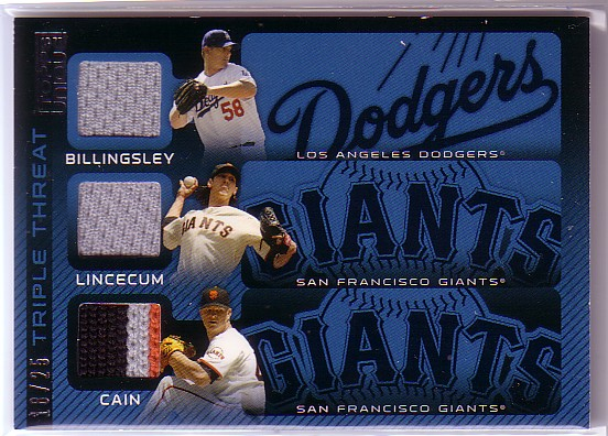 2009 Topps Unique Triple Threat Relics #BLC Chad Billingsley/Tim Lincecum/Matt Cain