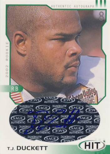 2002 SAGE HIT Autographs Emerald #H18 T.J. Duckett
