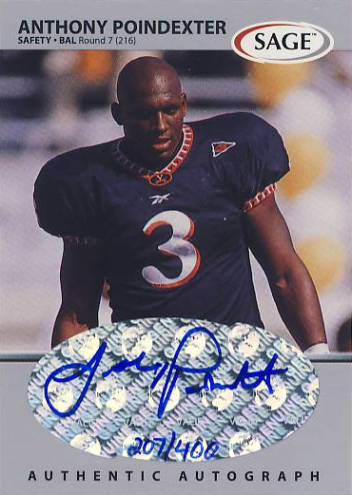 1999 SAGE Autographs Silver #A41 Anthony Poindexter/400