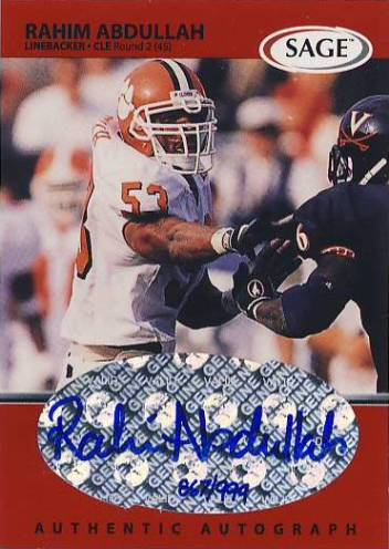 1999 SAGE Autographs Red #A1 Rahim Abdullah/999